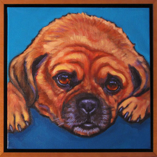 Peanut Puggle pet portrait commission