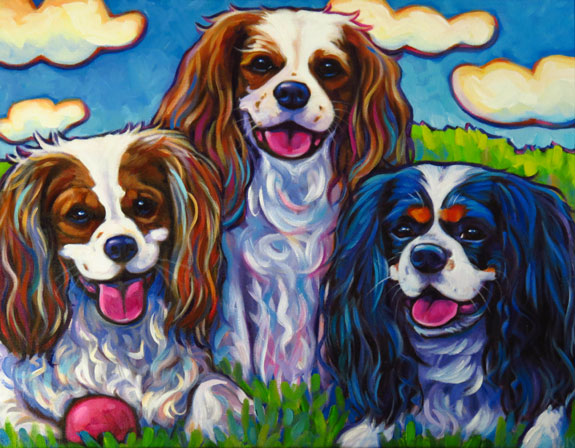 Bentley Bosley and Bella pet portrait commission